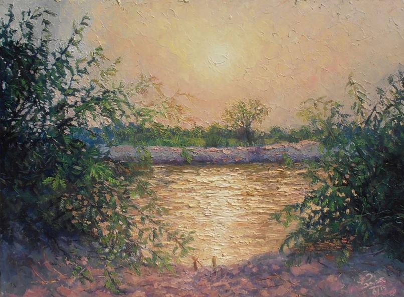 Saba Qayoom Leghari - Sunset at Khesanamori Canal