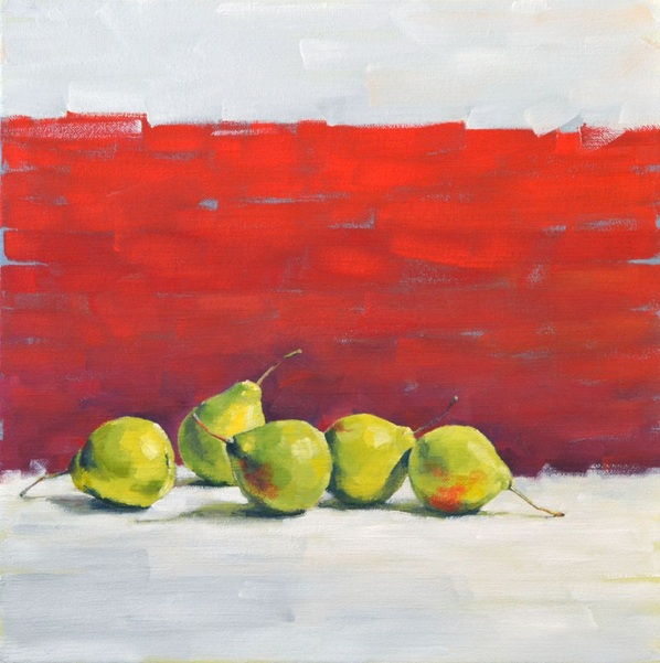 Viacheslav Rogin - Green pears on a red background