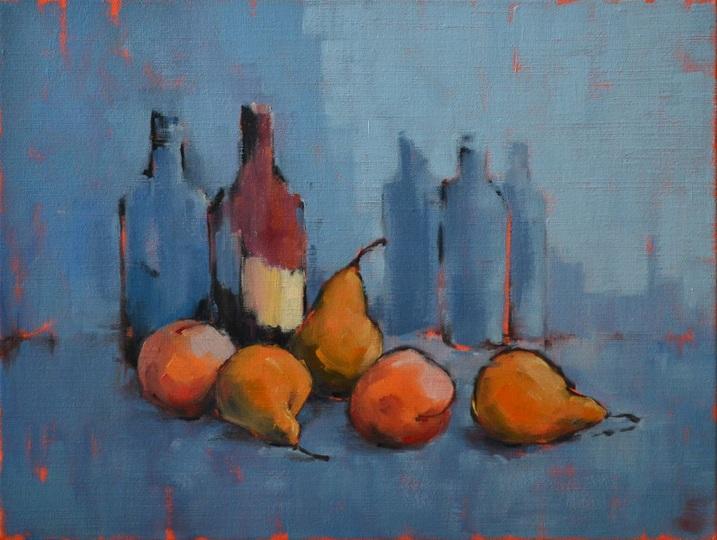 Viacheslav Rogin - Still life with a fruits on a dark blue background