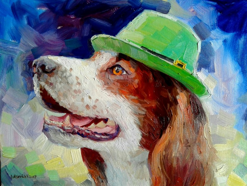 Vladimir Lutsevich - Dog in a green hat