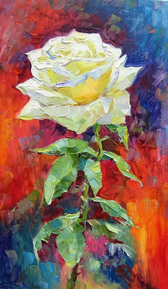 Vladimir Lutsevich - Rose on an abstract background