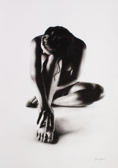 Ashvin Harrison - Nude Woman Charcoal Study 41