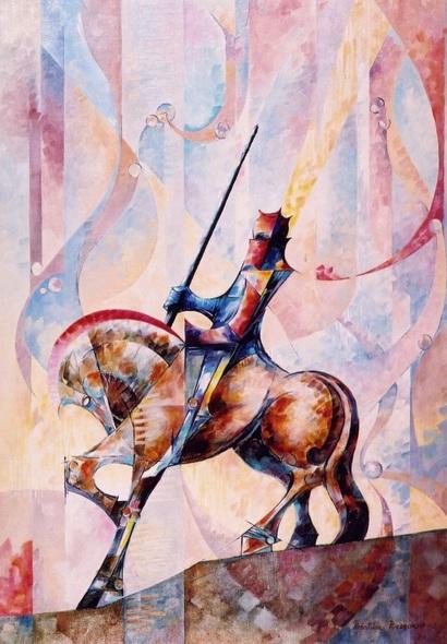 Béatrice Bedeur - Longin a cheval de Subirachs