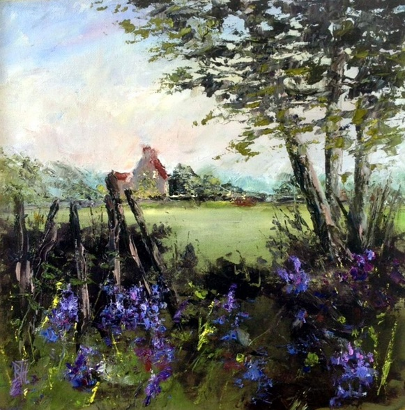 BARBARA HARLOW - BLUEBELLS IN THE HEDGEROW
