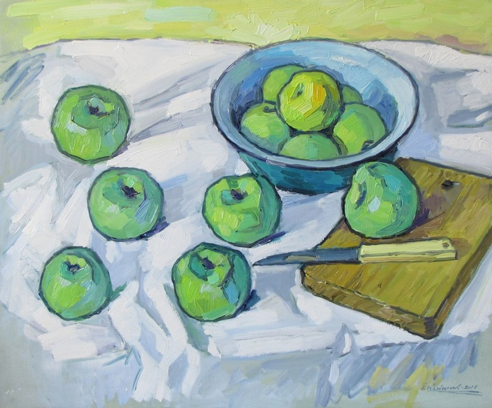 Ivan Kolisnyk - Still Life with Green Apples