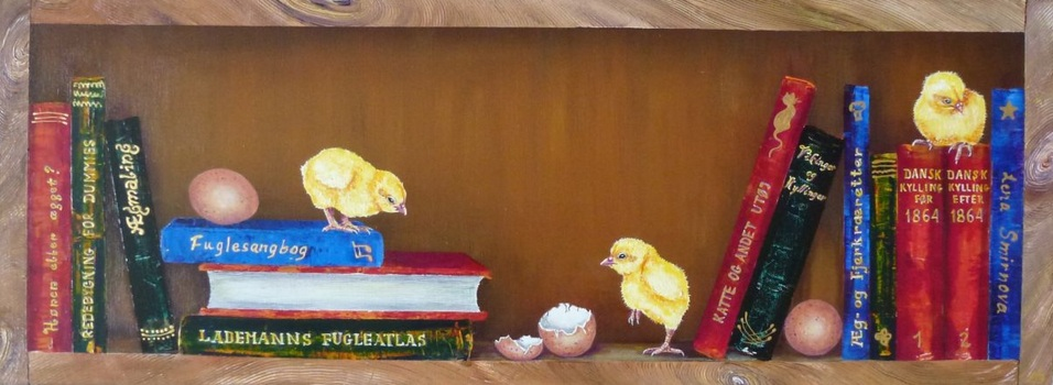 Lena Smirnova - Bookcase with chickens I