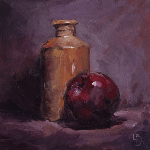 Ollie Le Brocq - Ink Pot with Red Apple