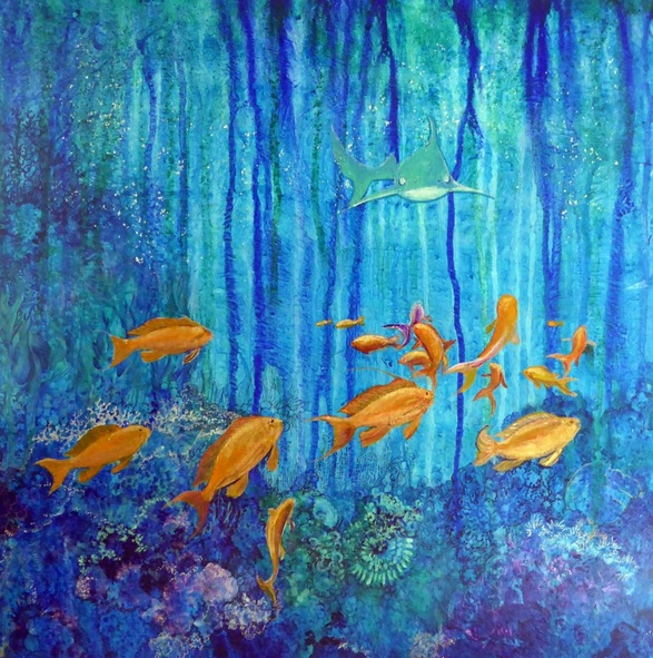 Polly Ballantine - coral reef 4 sea goldies and shark