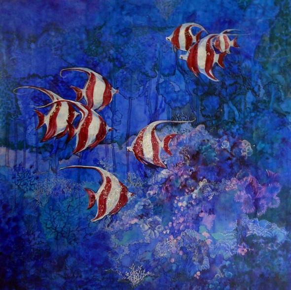 Polly Ballantine - coral reef 5 crimson angels