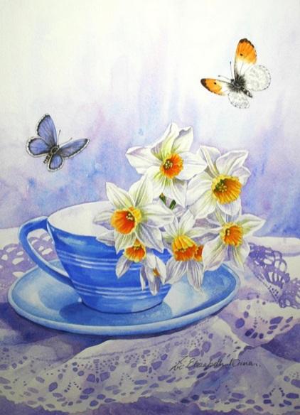 Zoe Elizabeth Norman - Blue Tea Cup
