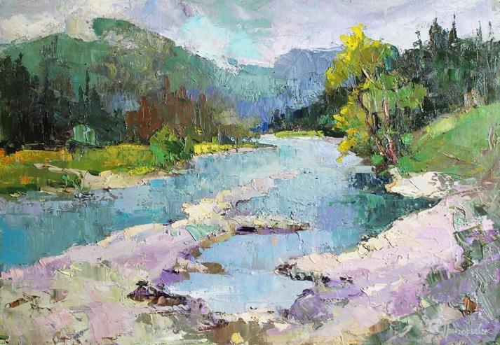 Anastasiia Grygorieva - Landscape. Mountain river n Carpathians