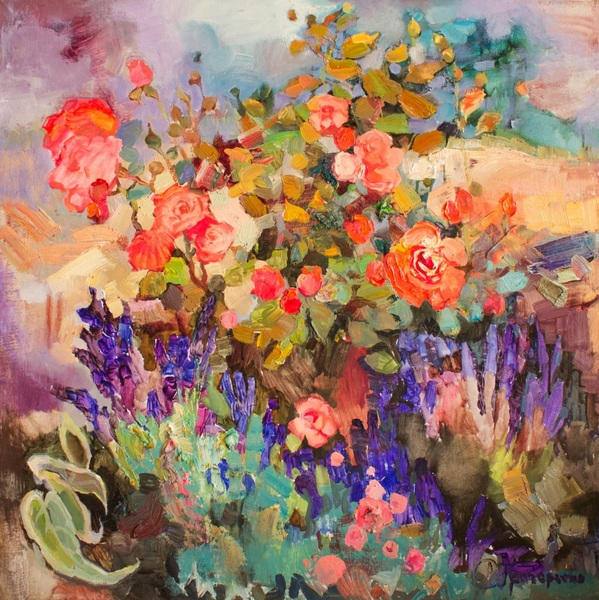 Anastasiia Grygorieva - Scarlet rose in lavender