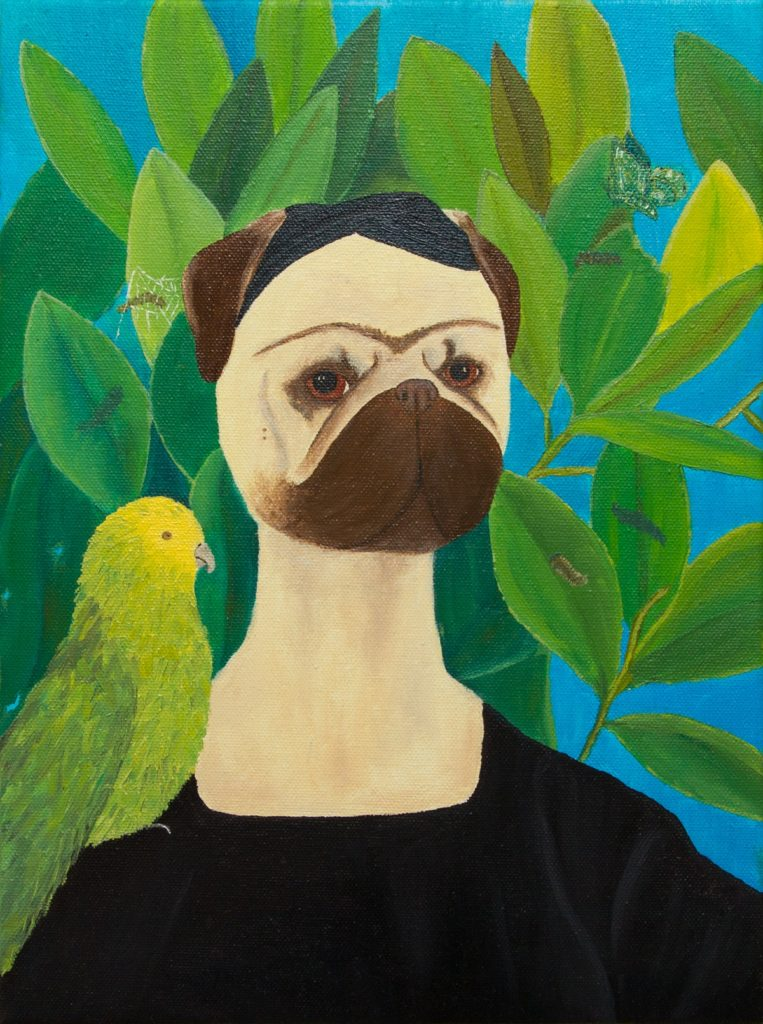 Frida Puglo - Self-portrait with Bonito Parrot and Butterfly. Pug portrait. Oil painting by Yuliia Ustymenko