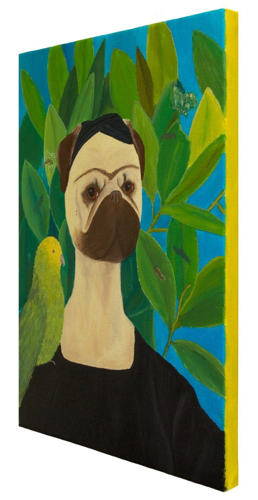 Frida Puglo - Self-portrait with Bonito Parrot and Butterfly. Pug portrait. Oil painting by Yuliia Ustymenko. Side view