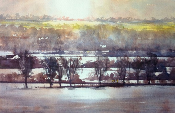 Henry Jones - View to Langport across the Flood