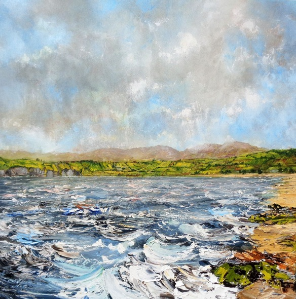 Nathan J Art - A Windy day On The Anglesey Coast - stormy sea, waves, beach