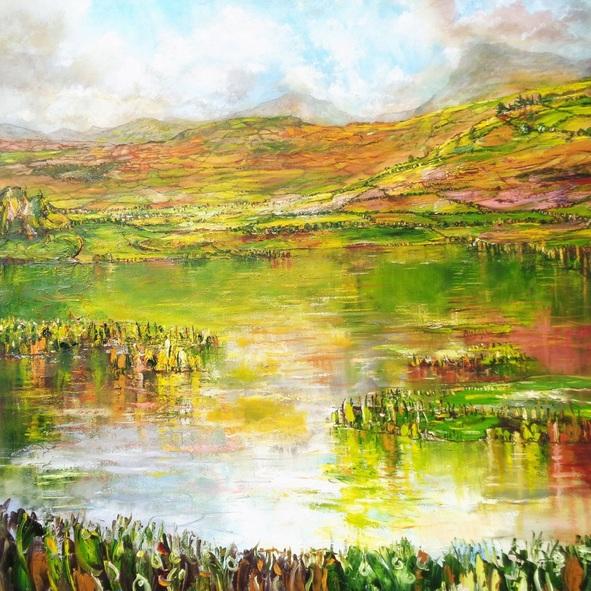 Nathan J Art - adventures await beyond the lake - Mountains, lake, reflections, landscape