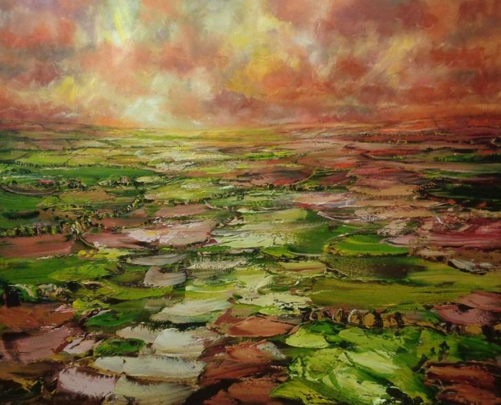 Nathan J Art - floating over the sunset lit fields