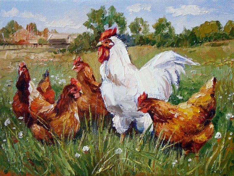 Ruslan Sabiroff - Chickens in a Meadow