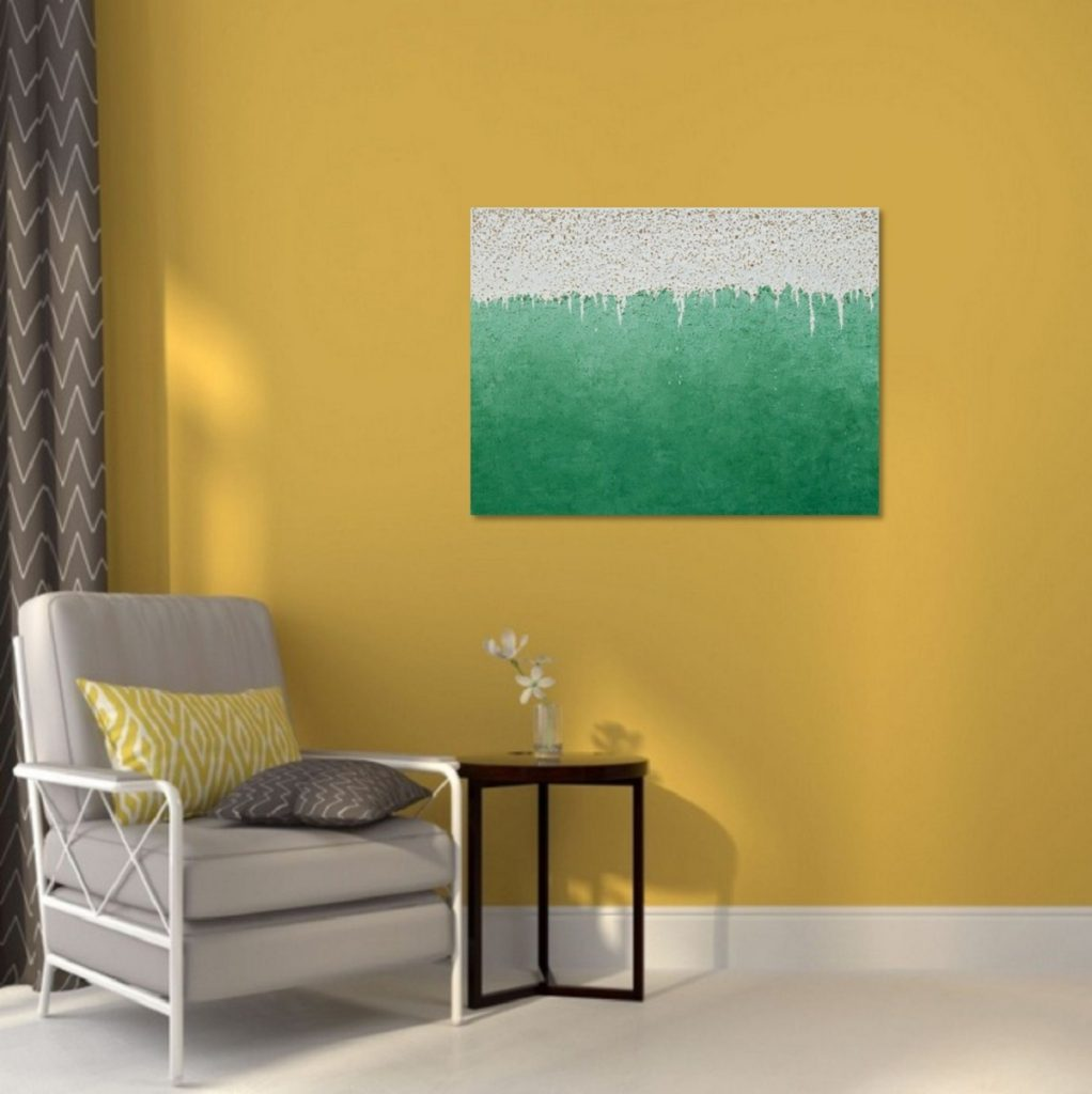 Yullia Ustymenko - Green mind. Abstraction. Large oil painting. Home view