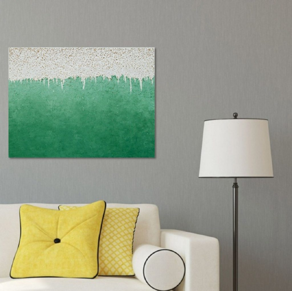 Yullia Ustymenko - Green mind. Abstraction. Large oil painting. Interior view