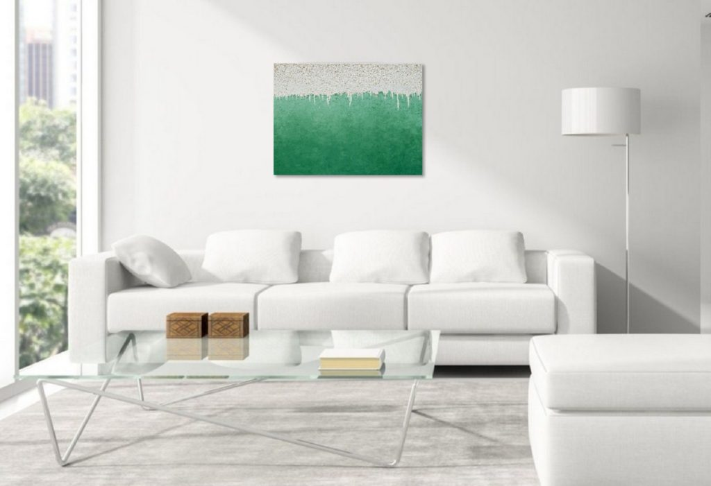 Yullia Ustymenko - Green mind. Abstraction. Large oil painting. Office view