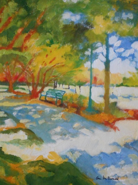 Ann Cameron McDonald - Blue Bench in Frisco Park #2