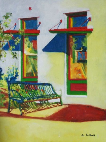 Ann Cameron McDonald - Small Town Bench in Sun