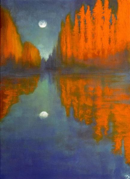 John O'Grady - The Moon and the Poplars-Provence
