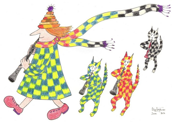 Peter Brighouse - MadCatWoman and Three Cats Do the Pied Piper
