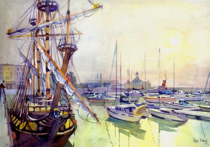 Peter Day - The Russian Frigate, Schtandart. Misty Morning Ramsgate, Kent