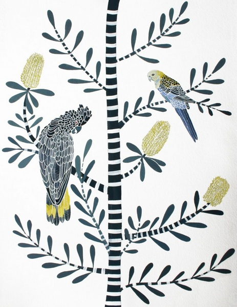 Sally Browne - Black Cockatoo, Pale Headed Rosella and Coastal Banksia