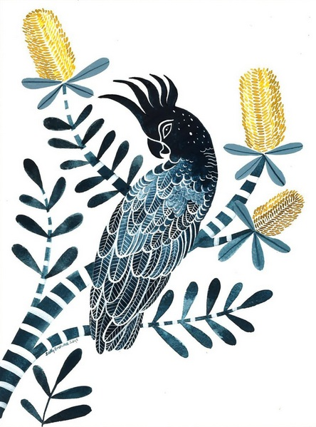 Sally Browne - Indigo Cockatoo and Coastal Banksia