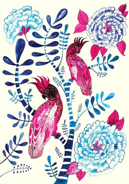 Sally Browne - Pink Cockatoos & Indigo Peonies