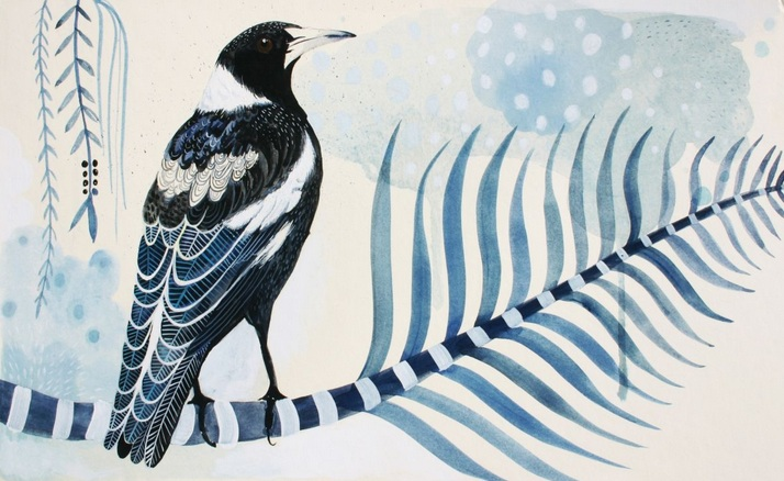 Sally Browne - Street Magpie and Palm