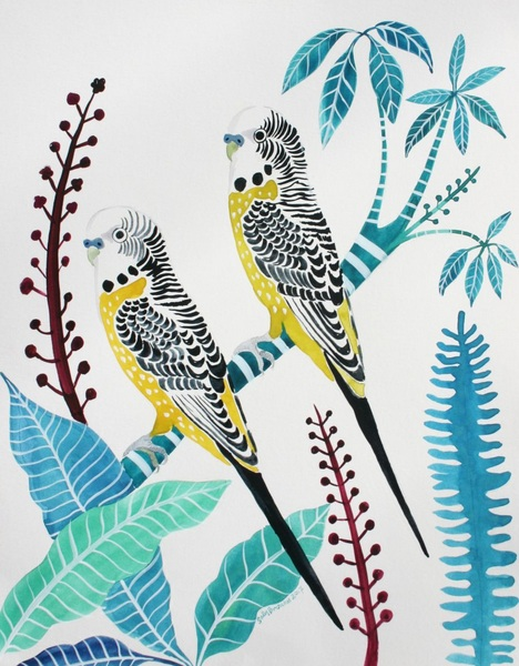 Sally Browne - Yellow Budgies and Umbrella Plant