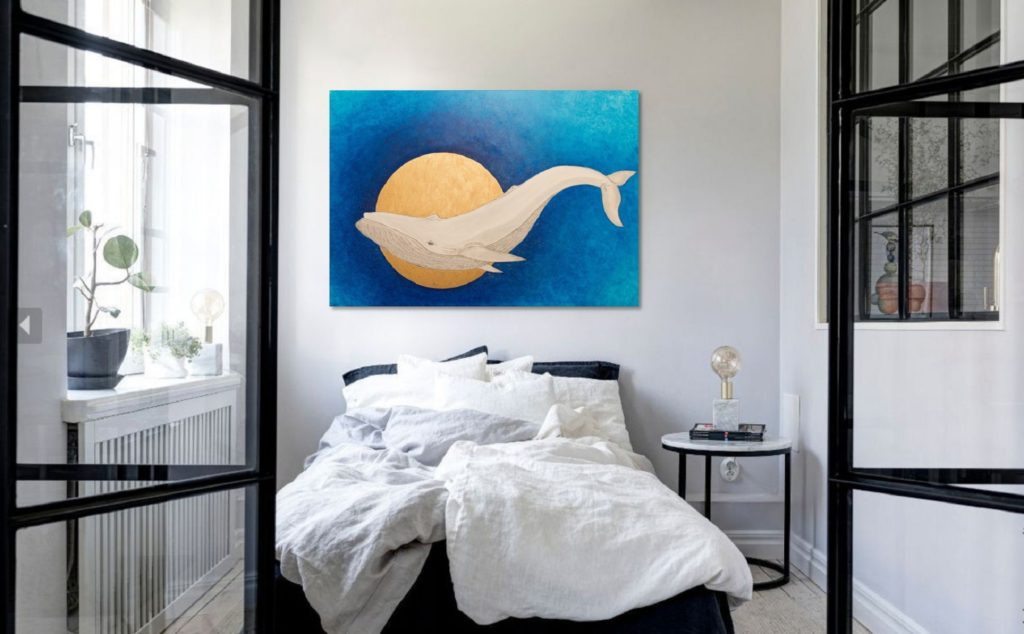Yuliia Ustymenko - Secrets of the depths. Whale. Bedroom in-contex view