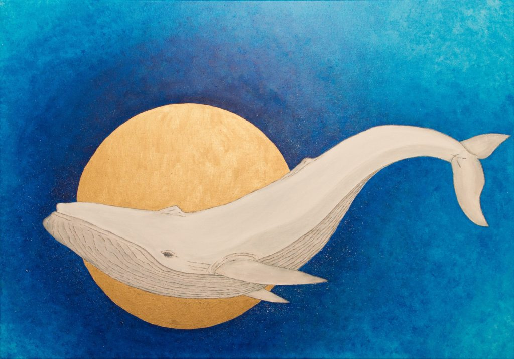 Yuliia Ustymenko - Secrets of the depths. Whale. Large oil painting