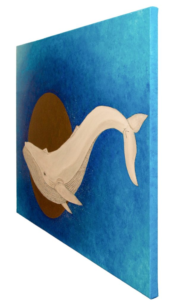Yuliia Ustymenko - Secrets of the depths. Whale. Large oil painting. Side view