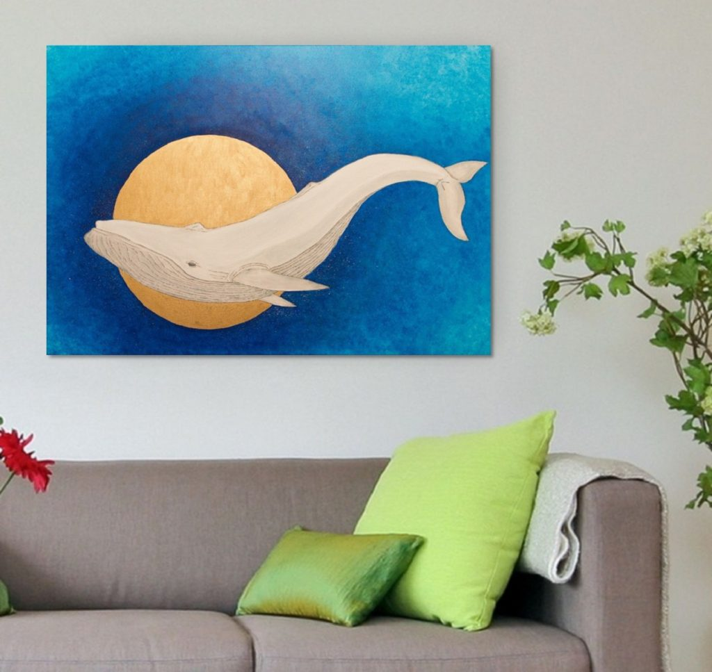 Yuliia Ustymenko - Secrets of the depths. Whale. Living room in-contex view