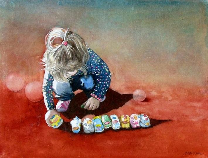 Marina Kulik - Elin plays with cars
