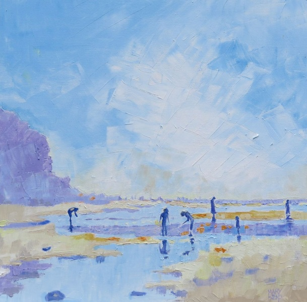 Mary Kemp - Hot Summer Day on the Beach. Seaside Painting.