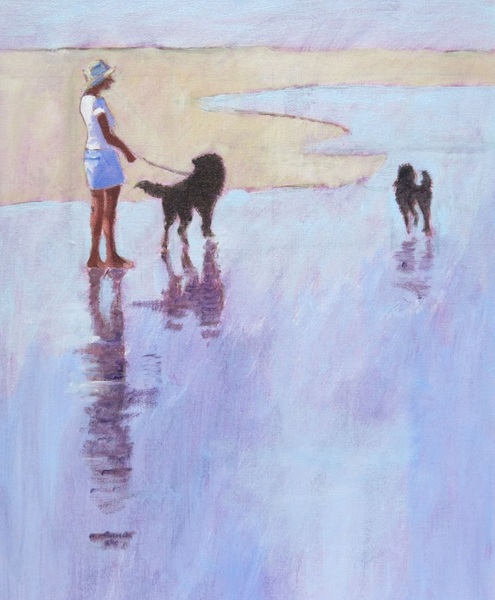 Mary Kemp - Labradoodles, Two Dogs, Sand and Sea
