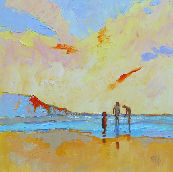 Mary Kemp - Seaside Painting. Three Cousins Playing on the Beach