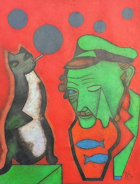 Orlando Boffill - El gato Popota Planificando el quinquenio gris. Homenaje a Marc Chagall