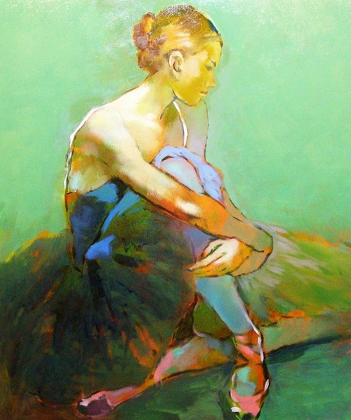 Vygandas Doveika - Ballerina In Green Background