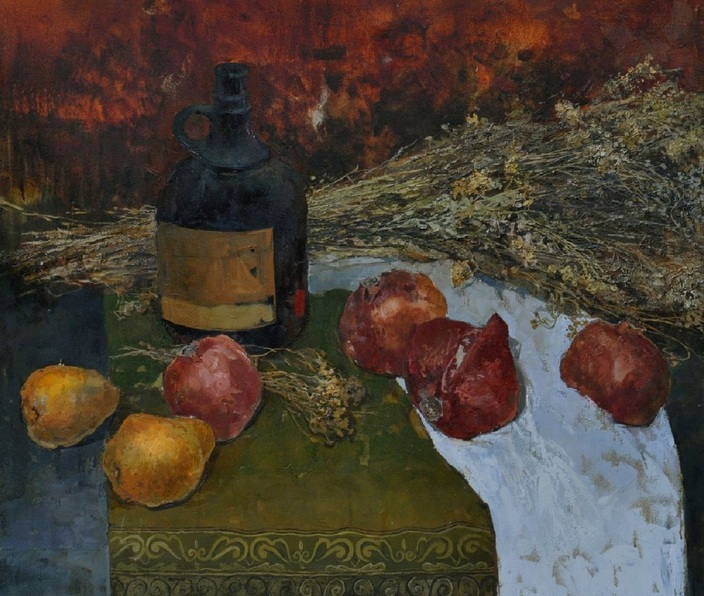 Eliza Mamardashvili - Still life with pomegranates