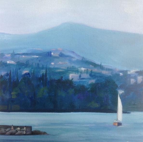 Sarah Gill - White sail on Lake Garda