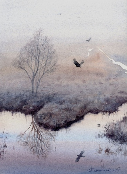 Anna Tikhomirova - Crows at Dawn