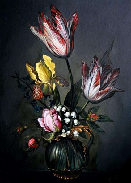 Lesja Rygorczuk - Floral dutch stil life Tulips Black